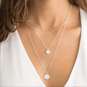 Silver Layered Disc Necklace